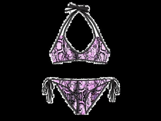 PINK SNAKE Reversible Bikini Set