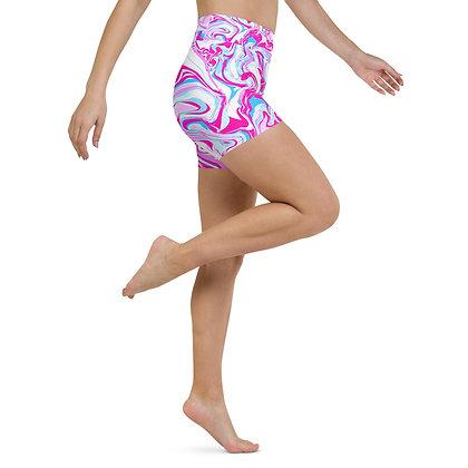 PINK  BLEU MARBLE Yoga Shorts