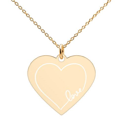 LOVE 2 Engraved  Heart Necklace (18K rose gold, 24K gold coating)