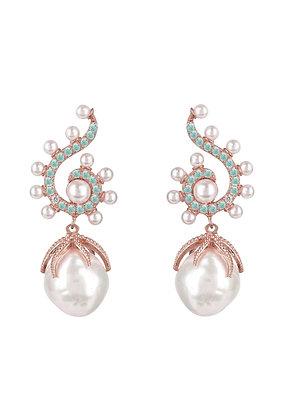 Baroque Pearl Poseidon Gemstone Drop Earrings Aqua Rosegold