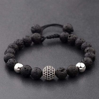 Crystal Ball Silver Lava Stone Bracelet