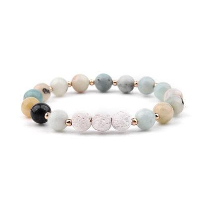 Lava Stone Bracelet - Amazonite and White 3