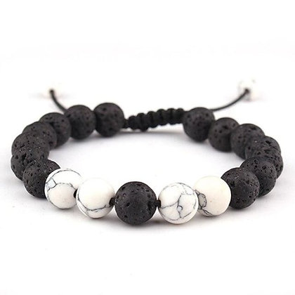 Adjustable Anxiety Lava Stone Bracelet W/White Stones