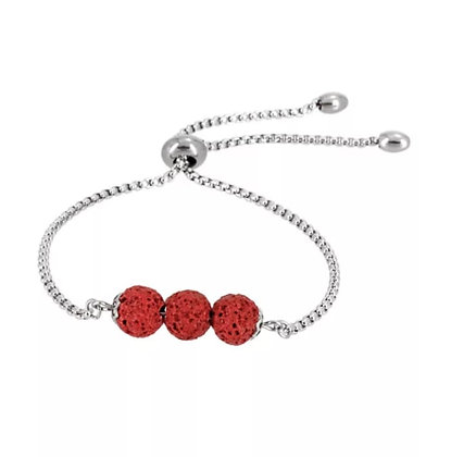 Red Triple Lava Stone Charm Bracelet