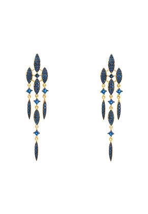 Valencia Statement Drop Earring Sapphire Blue CZ Gold