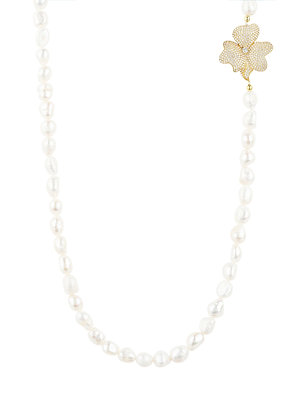 Flower Pearl Gemstone Long Necklace White CZ Gold