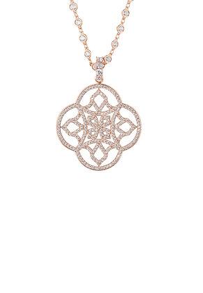 Celtic Knot Clover Pendant Necklace Rosegold