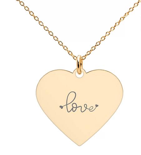 LOVE Engraved  Heart Necklace  ( 18K rose gold, 24K gold coating)