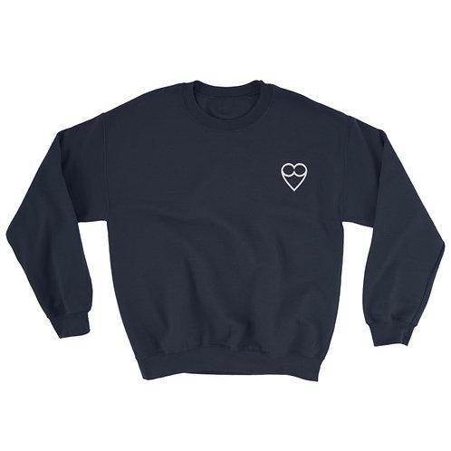 HEART Unisex  NAVY Sweatshirt (embroidered)