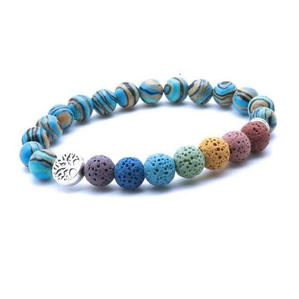 Tree of Life Seven Chakra and Turquoise Brown Lava Stone Bracelet