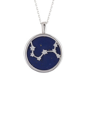 Zodiac Lapis Lazuli Gemstone Star Constellation Pendant Necklace Silver Scorpio