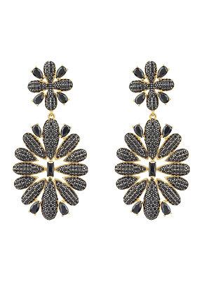 Babylon Flower Drop Earrings Gold Black