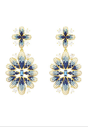 Babylon Flower Drop Earrings Gold Blue