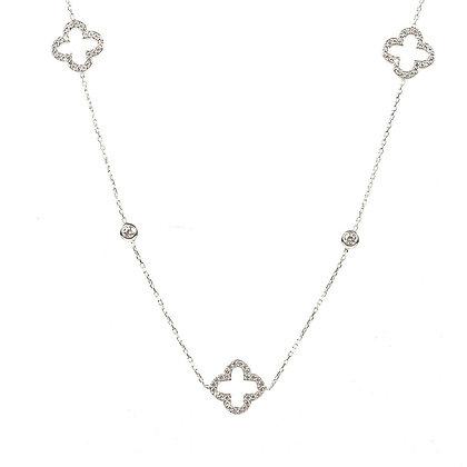 Open Clover Long Necklace Silver
