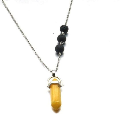 Orgone Citrine Yellow Crystal Lava Stone Necklace