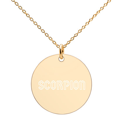 SCORPION Engraved Disc Necklace (18K rose gold, 24K gold coating)