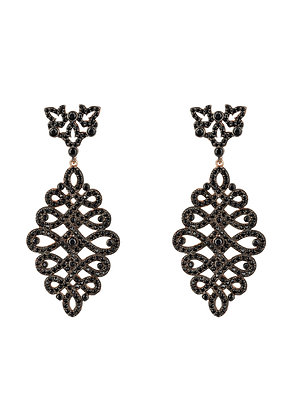 Calligraphy Drop Earrings Black CZ Rosegold