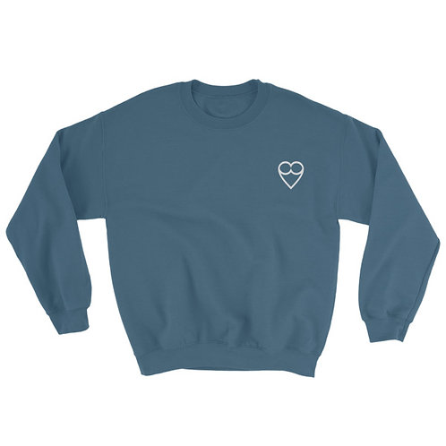 HEART Unisex  INDIGO Sweatshirt (embroidered)