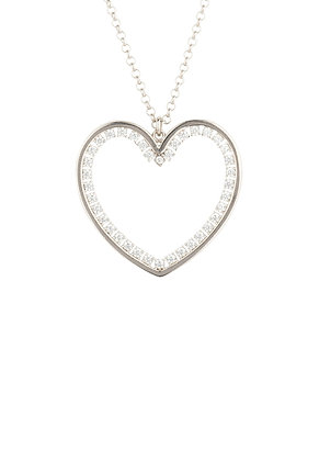 Heart Large Pendant Drop Necklace Silver