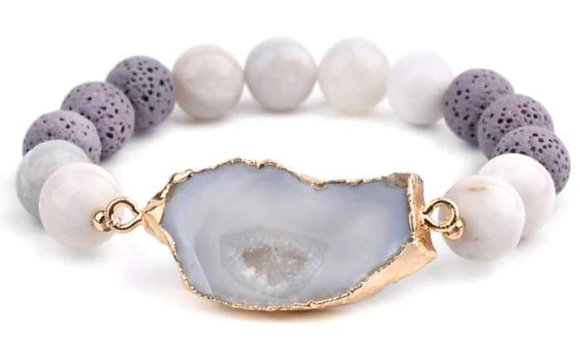 Crystal and Gold Lava Stone Bracelet