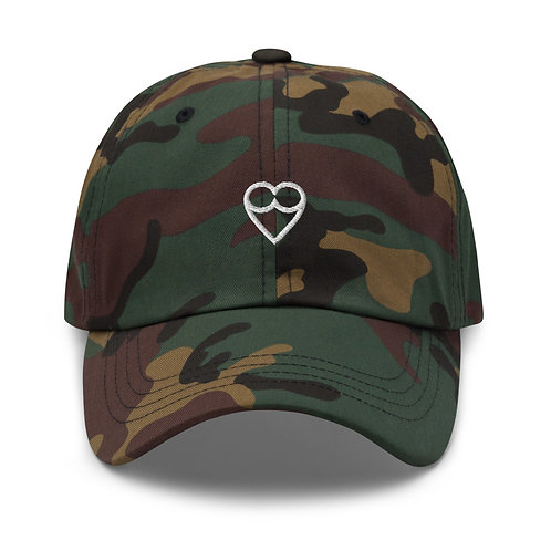 White HEART Dad hat (embroidered)