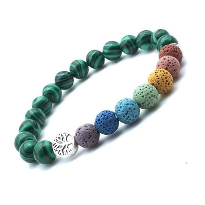 Tree of Life Seven Chakra and Jade Green Lava Stone Bracelet