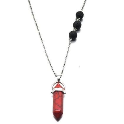 Red Jasper Crystal Lava Stone Necklace