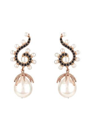 Baroque Pearl Poseidon Gemstone Drop Earrings Black Rosegold