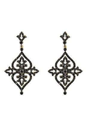 Kismet Drop Earring Black CZ Gold