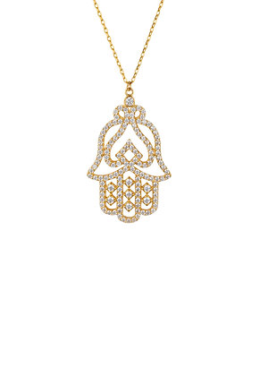 Large Hand of Fatima Filigree Hamsa Necklace Gold
