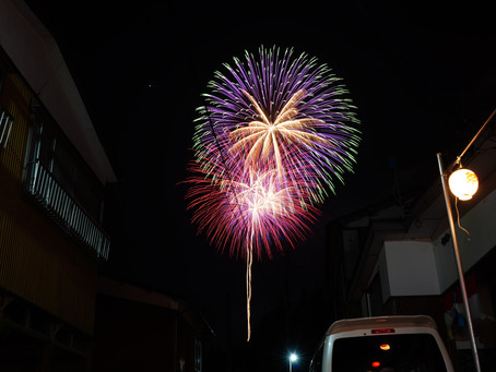 浦佐、白山神社夏祭りの花火。