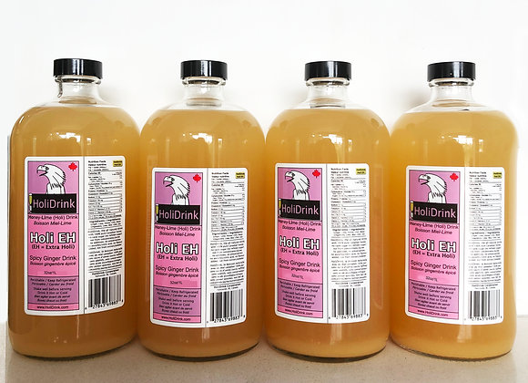 4 pack of 32oz/1 Litre Glass Bottles of HoliEH Spicy Ginger