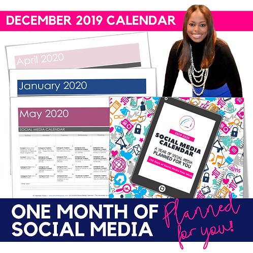 December 2019 - Social Media Calendar