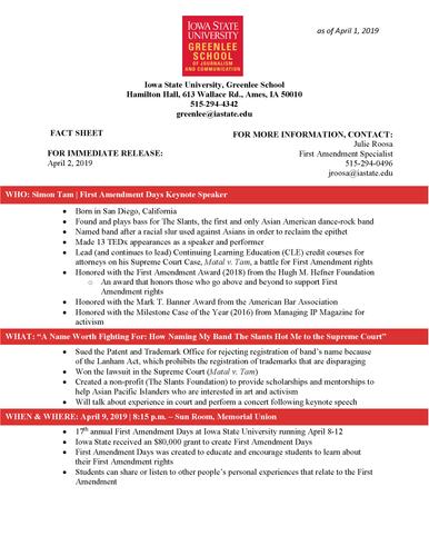 First Amendment Days Fact Sheet
