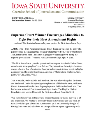 First Amendment Days Press Release