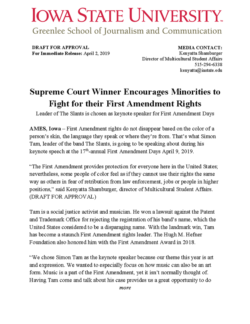 First Amendment Days Press Release