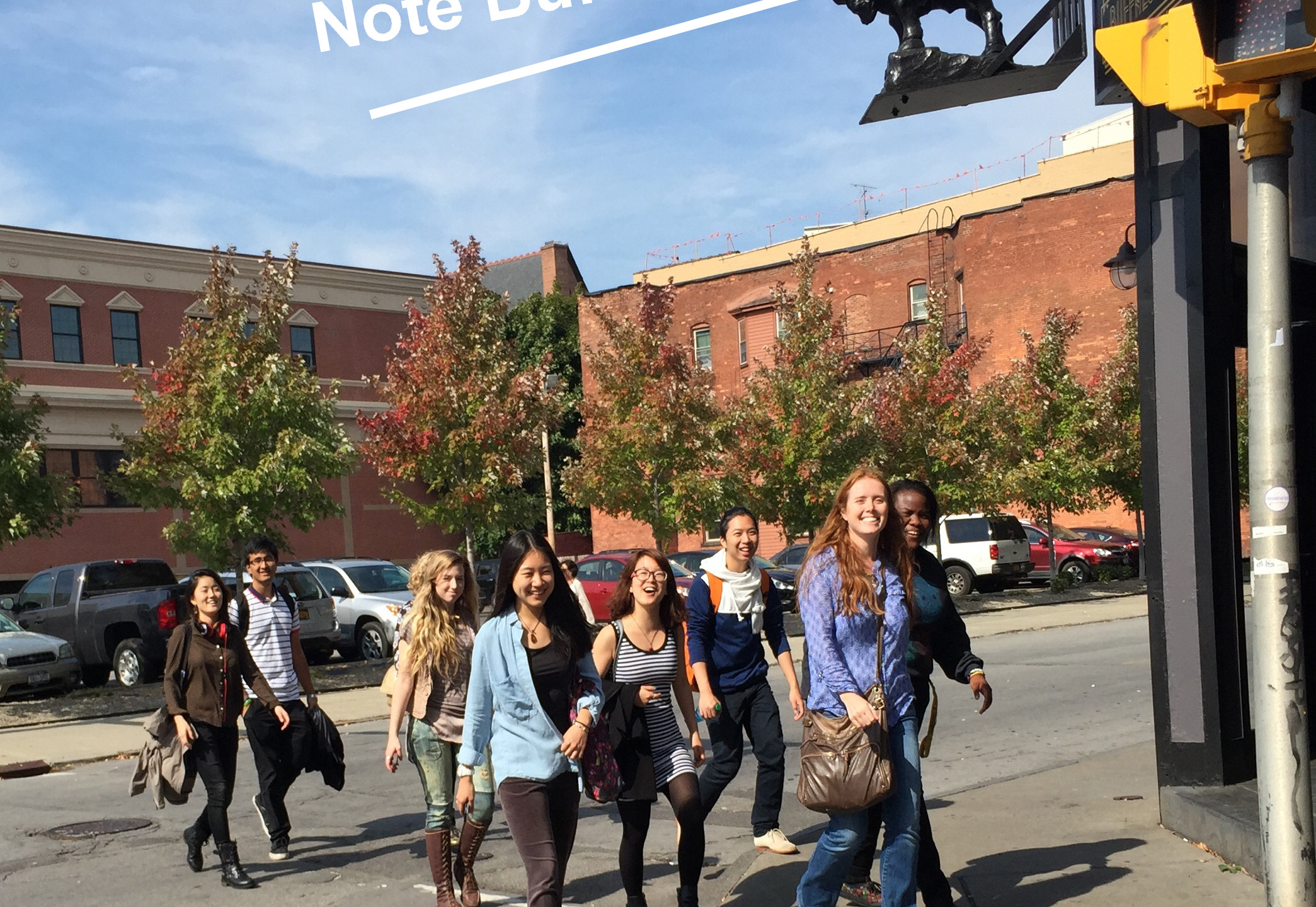 Students walk between Hallwalls and CEPA Galleries in their recent trip that also included the Albright-Knox Gallery.