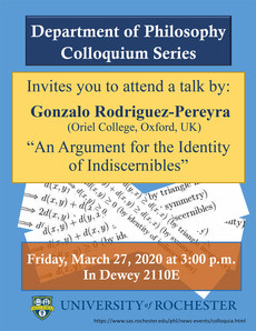 Talk 3/27: An Argument for the Identity of Indiscernibles