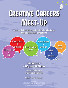Creative Careers Meet-Up on 3/27 has been cancelled and will be postponing the event for the fall se