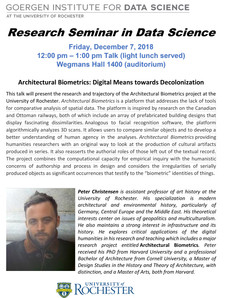 TODAY @ NOON : Research Seminar in Data Science