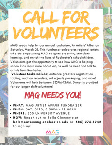 The Memorial Art Gallery is looking for volunteers for their annual fundraiser!