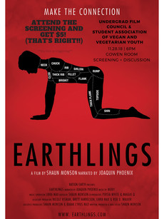 Attend the screening of Earthlings and get $5! November 28 @ 6pm in the Gowen Room