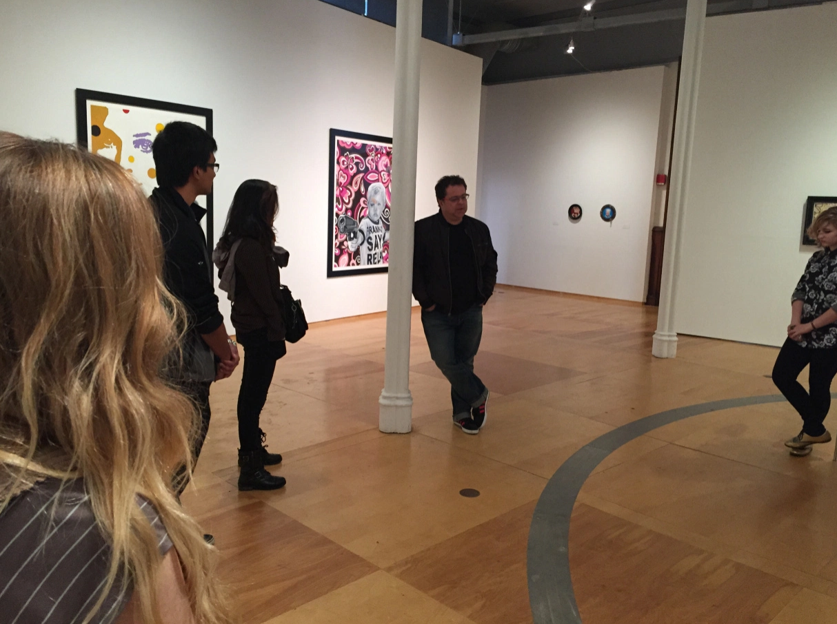 Students talk to John Massier the Director of Hallwalls in their recent trip to Buffalo Art Galleries.