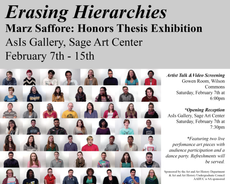 erasing hierarchies: marz saffore's honors thesis exhibition