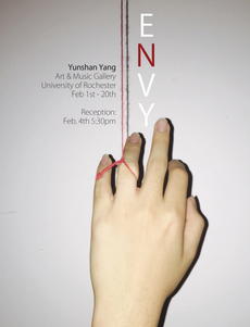 "opening reception tomorrow at 5:30: ""envy"" studio art honors thesis exhibition by yunshan yang"