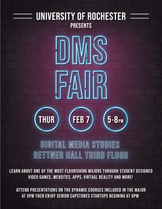 Want to learn more about Digital Media Studies at UR? Then join us at the DMS Fair this Thursday, 2/