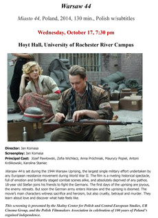 Screening of Warsaw 44, 10/17 @ 7:30pm, Hoyt Hall