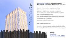 Art New York Info Session 9/3, Deadline 9/15/2021!