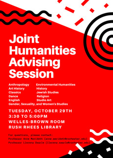 Joint Humanities Advising Session Tomorrow, 3:30pm-5pm