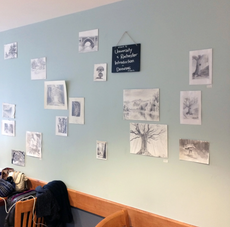 artwork by introduction to drawing students is up at finger lakes coffee roasters at highland hospit